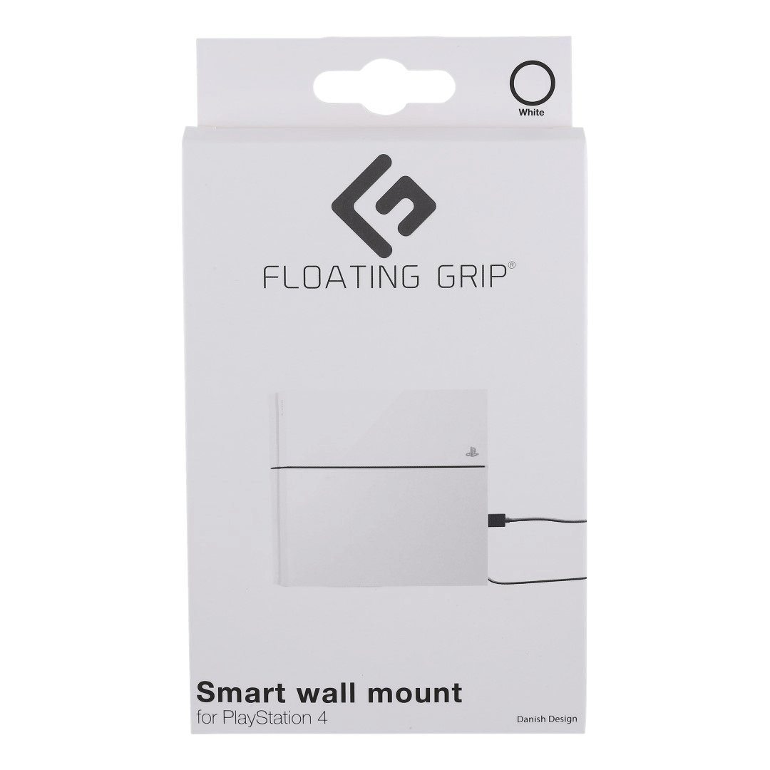 FLOATING GRIP® Wall Mount for PlayStation 4 (PS4 Original). Color: WHITE. 1x Wall Mount for PlayStation 4 (PS4 Original). Storage PS4 (Original) on the wall right next to your TV or hide it behind.