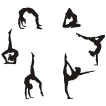 "Easma Gymnastics Wall Decals Silhouettes Sport Art Girl Vinyl Decals Wall Sticker Fits Kids Room Decor Home Wall Decor Set of 6 (7.87""H X 23.62""W)"