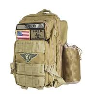 Tactical Dad Diaper Bag Backpack, Tactical Style, Made w/Military Grade Materials, Includes Changing Mat and 3 Patches/Badges (Khaki)