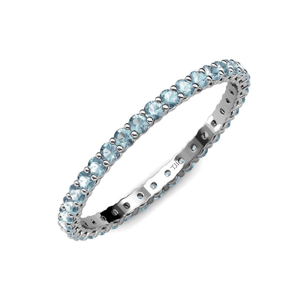 TriJewels Aquamarine 2mm Shared Prong Gallery Eternity Band 0.57 Carat tw to 0.68 Carat tw in 14K Gold