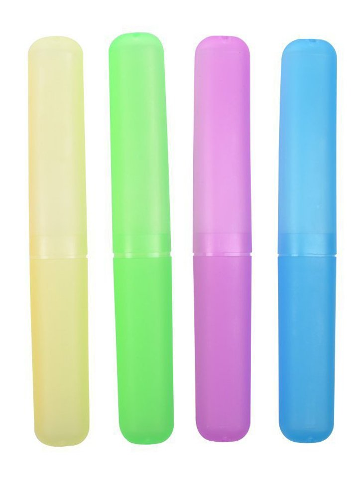Ewanda store Pack of 4 Pcs Assorted Color Plastic Toothbrush Toothpaste Holder Case for Travel Use