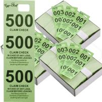 Tiger Chef Coat Check Tickets, 3-Pack Green Colored Paper Coat Room Check Tags, Tickets 3-Part, 500 Per Box
