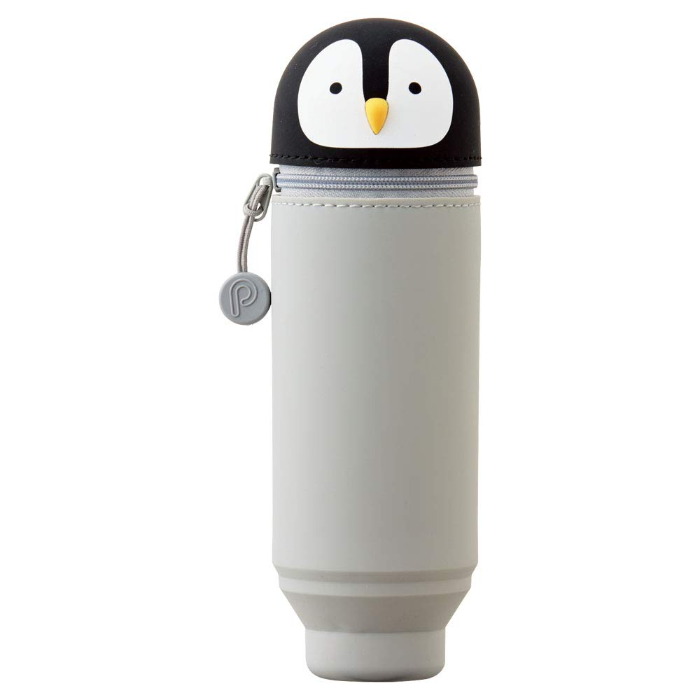 "LIHIT LAB. PuniLabo Stand Up Pen Case (Pen Holder), 2.4"" x 7.8"", Penguin (A7712-10)"