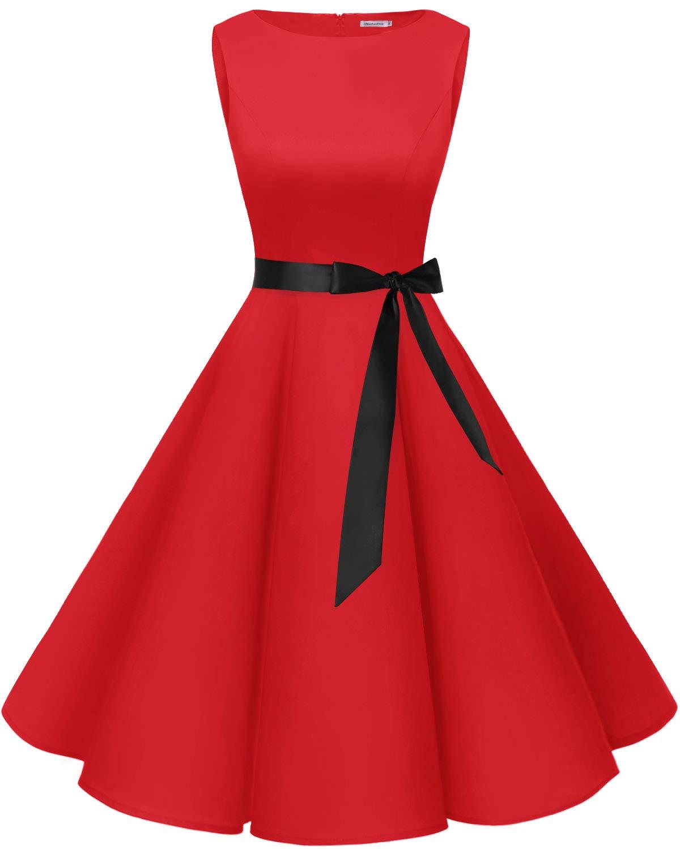 Bbonlinedress Womens Vintage 1950s Boatneck Sleeveless Retro Rockabilly Swing Cocktail Dress Red 2XL