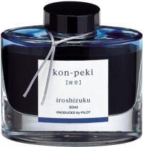 PILOT Iroshizuku Bottled Fountain Pen Ink, Kon-Peki, Deep Blue (Turquoise Blue) 50ml Bottle (69212)