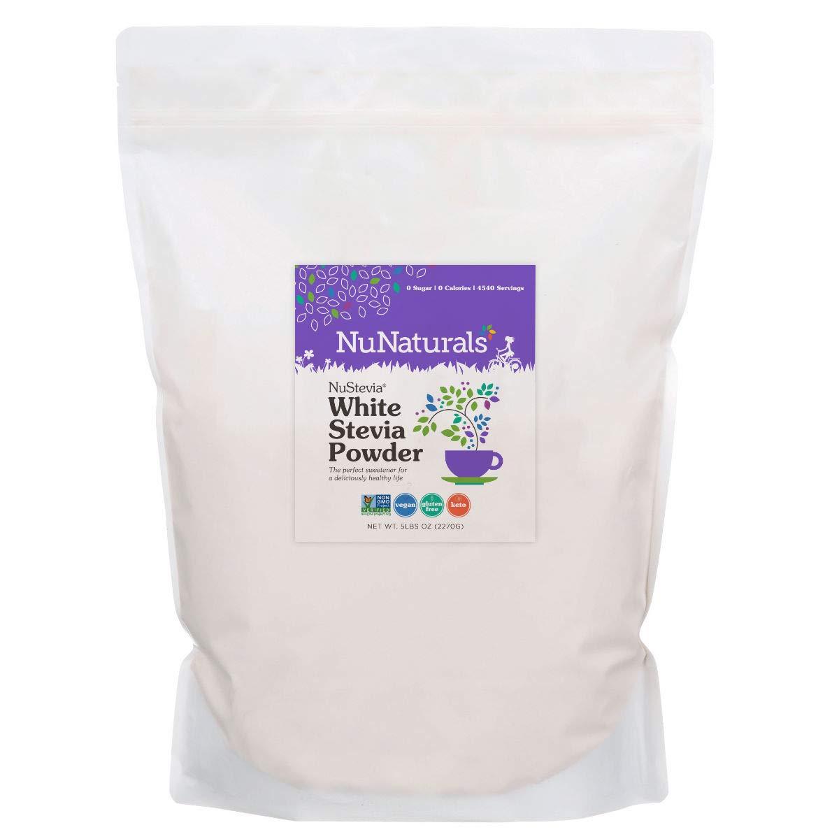 NuNaturals White Stevia Powder, All Purpose Natural Sweetener, Sugar Free 5 LBs