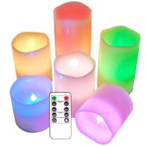"""Eldnacele Flameless Color Changing Candles Set of 6(H3 4"""" 5"""" 6"""" X D3), Multi Colored Real Wax Battery Operated LED Candles Melted Edges with Remote and Timer for Christmas"""