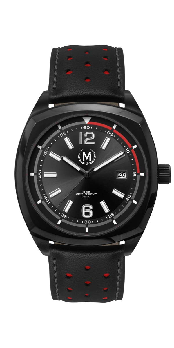 Marchand Driver Racing Watch | Retro Watch | British Designed | PVD Black Coated Casing | Black Dial | Dress Watch | Leather Band | Great Casual Watch | Watch for Men | 24 Month Warranty