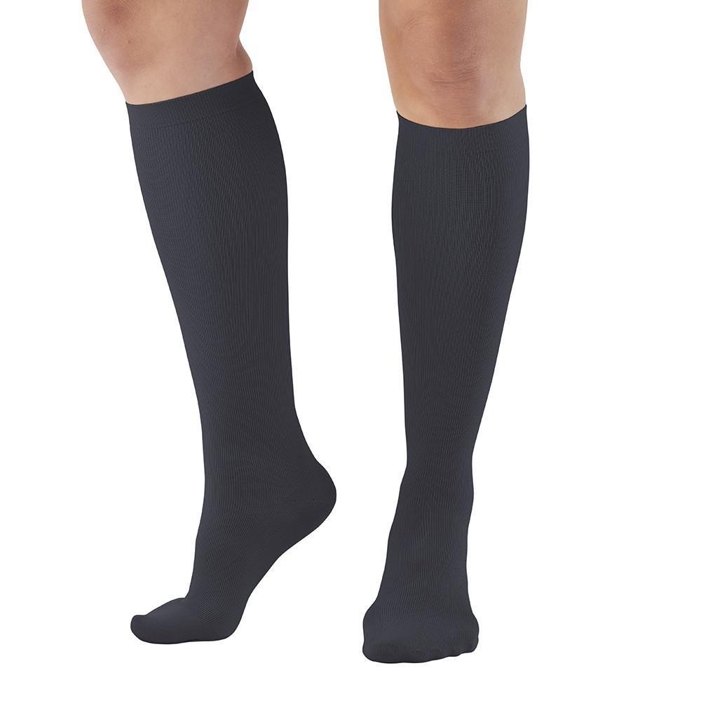 Ames Walker AW Style 112 Women's Microfiber 15 20mmHg Knee High Socks Black XL