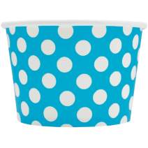[100 Count] Blue Paper Ice Cream Cups - 8 oz Polka Dotty Dessert Bowls Perfect For Yummy Treats! Frozen Dessert Supplies