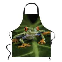 """Amzbeauty Funny Green Apron for Women Men Suit for Kitchen Home BBQ Cute Frog Printed Waterproof Bib Adjustable Polyester Cotton Apron Adult Size, 29.5"""" x 26.3"""""""