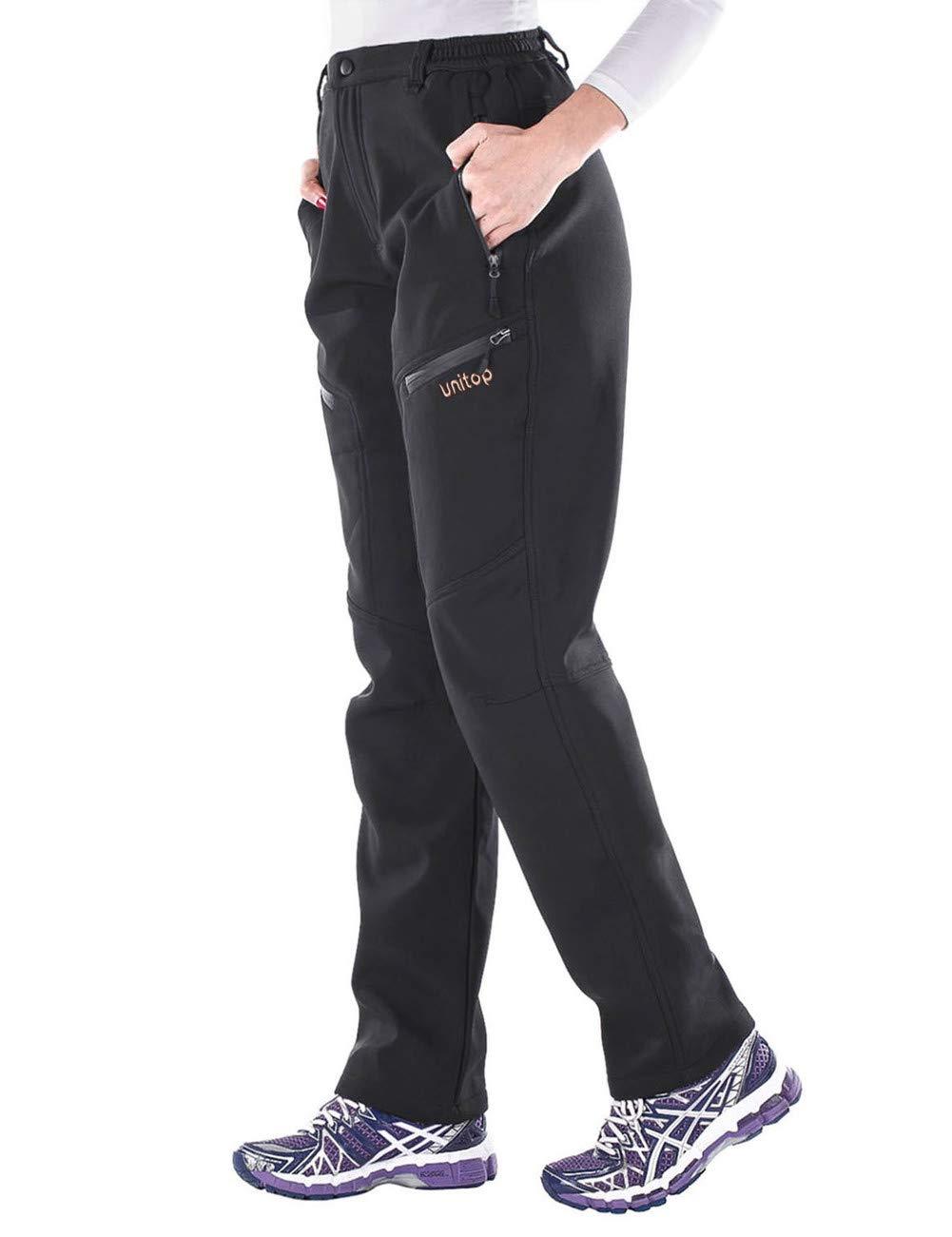 Unitop Women's Winter Ski Snow Pants Outdoor Water-Resistant Fleece Lined Cargo Pants