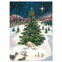 Merry Christmas Tree & Manger Religious Christmas Cards – Holiday Greetings, Includes Bible Verse, Set of 18 Cards and Envelopes, by Current