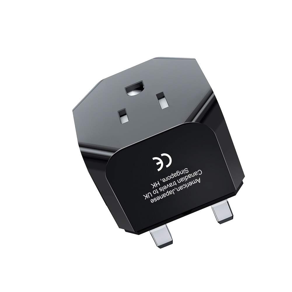 IKITS UK Plug Adapter, United Kingdom, London, Ireland, Hong Kong Travel Charger Plug -Type G- USA Ultra Compact & Safe for Smart Phones/Tablet/Camera Charger Universal Grounded Adaptor; Black