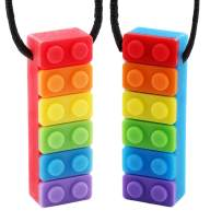 Sensory Chew Necklace,Autism Teething Necklace,Chewlery Stick/Tube Toy Jewelry for Boys Girls and Teething Babies with Autism ADHD,SPD, Oral Motor, Anxiety (2 pcs Rainbow Color)