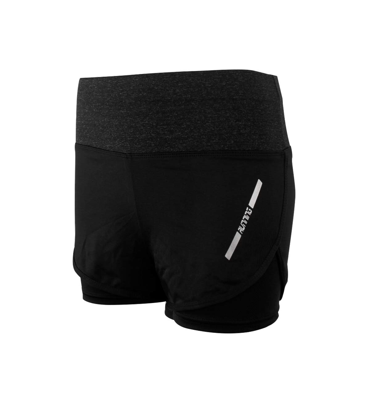 2 in 1 Running Shorts for Women High Waist Workout Shorts with Liner Double Layer Gym Shorts Quick Dry US Size 2-14 Grey L