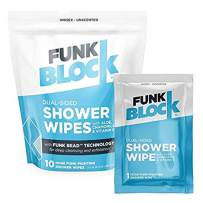 FunkBlock Body Wipes: Large Shower Wipes Ideal for Hygiene, Body Cleansing, Camping Wipes, Gym & Travel. No Rinse Bathing Wipes with Aloe and Vitamin E. Bag of (10) Unscented, Individually Wrapped,
