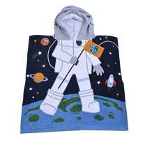 SearchI Kids Hooded Bath Towel for Boys Girls Toddlers Children Age 2 to 6 Years, Cotton Soft Absortbent Hooded Poncho Towel for Bath Shower Pool Swim Astronaut Cartoon, 23Wx24L Inches