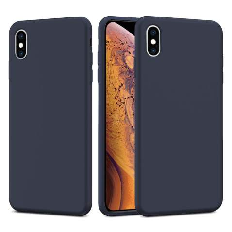 Caka iPhone X Case, iPhone X Liquid Silicone Case Silicone Series Gel Rubber Soft Slim Girly Luxury Microfiber Cloth Lining Cushion Cute Protective Case for iPhone X (Midnight Blue)