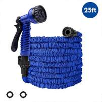 PiscatorZone Garden Hose 25ft Expandable Garden Hose Kink-Free Flexible Water Hose with 7- Pattern Spray Nozzle,Extra Strength Fabric Protection Collapsible Hose for Gardening Lawn Car Pet Washing