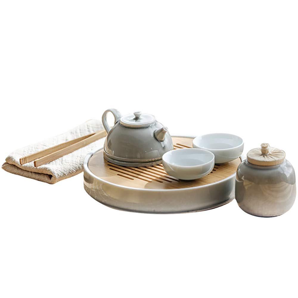 Chinese-style Tea Service Set, Smooth Gray Glaze Ceramic, Set for One