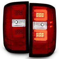For [C-Shape LED Tube] 2016-2018 Chevy Silverado 1500 K2XX Red Lens Chrome Housing Tail lights Brake Lamps Left + Right