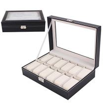 Sorbus 12 Watches Large Box Black Leather Display Top Jewelry Case Organizer