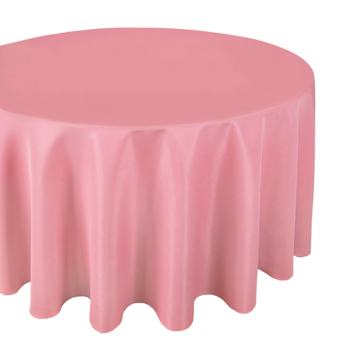 """LinenTablecloth Round Polyester Tablecloth, 120"""", Strawberry Ice"""