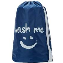 HOMEST Wash Me Travel Laundry Bag, 28 x 40 Inches Travel Dirty Clothes Shoulder Bag with Drawstring, Large Hamper Liner, Rip-Stop Nylon, Machine Washable, Blue, (Patent Pending)