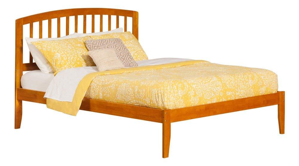 Atlantic Furniture Richmond Platform Bed with Open Foot Board, Queen, Caramel