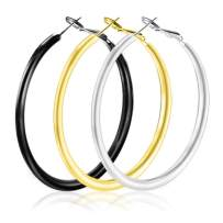 3 Pairs Big Hoop Earrings Stainless Steel Round Hoop Earrings in Gold Plated Silver for Women - 40CM/50CM/60CM Silver/Gold/Black 3 Color