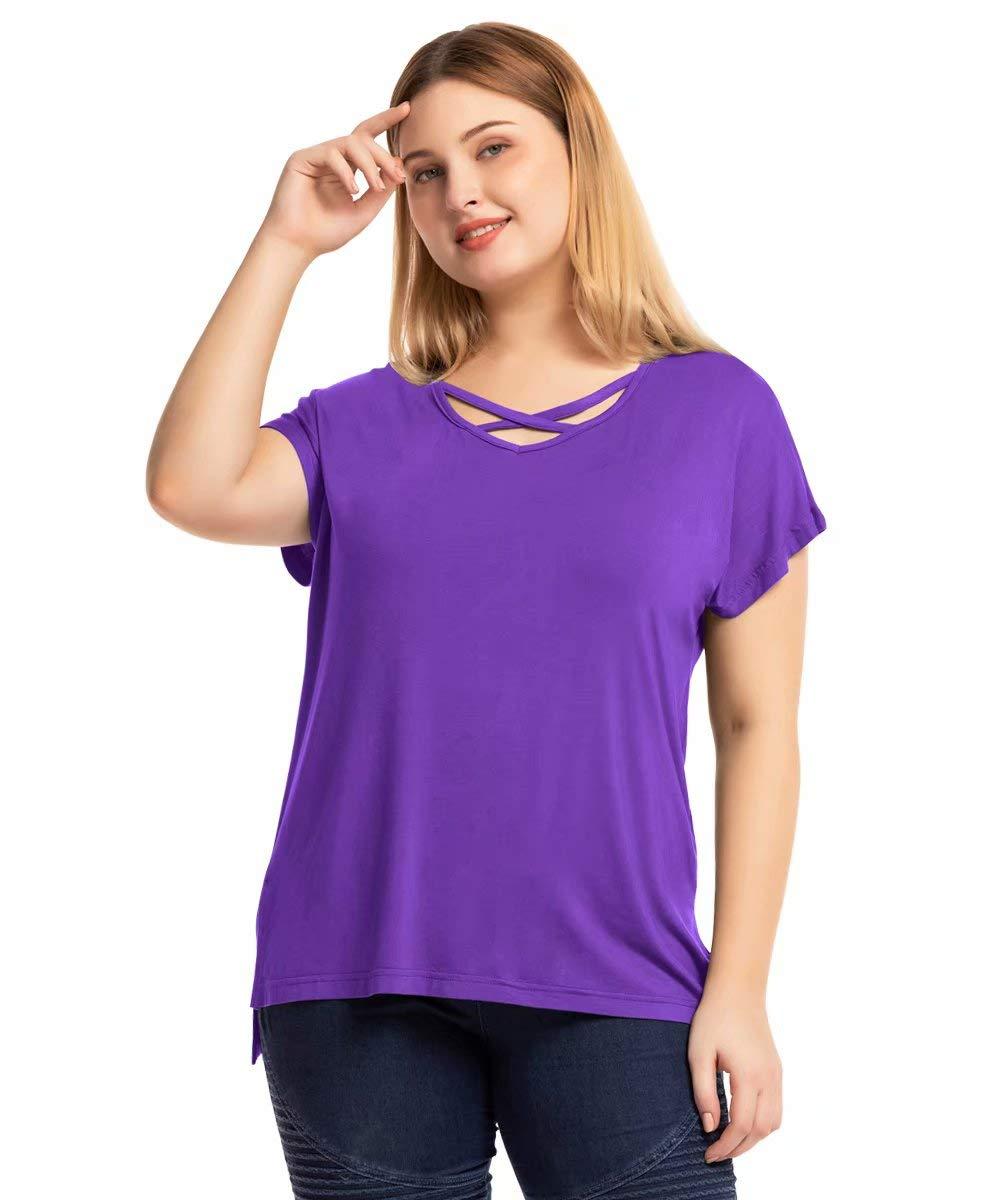 MONNURO Short Sleeve Plus Size Criss Cross Shirts High Low Slit Summer Tops