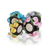 Floral Multi Color 3D Lampwork Murano Glass Mix Of 4 Sterling Silver Spacer Bead Fits European Charm Bracelet For Women