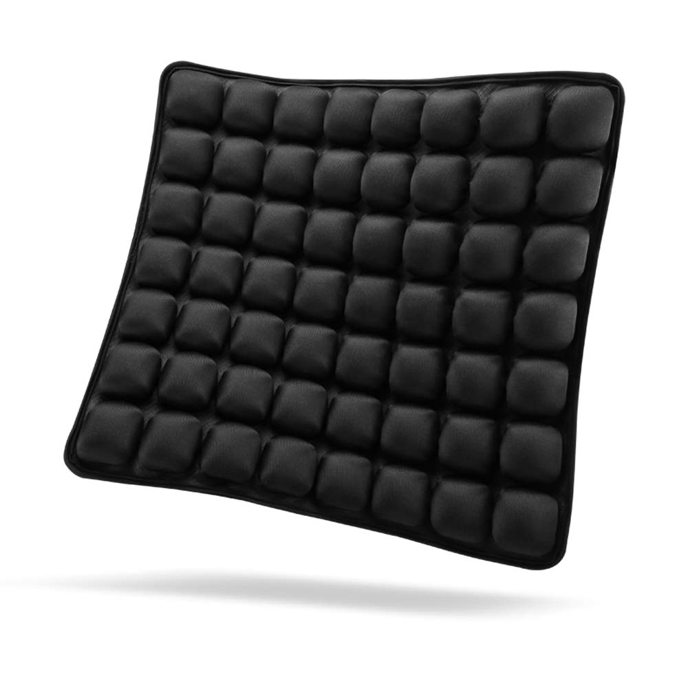 SUNFICON Inflatable Air Seat Cushions Portable Breathable Comfort Cushion Car Seat Office Chair Wheelchair Pad Orthopedics Pain Pressure Relief Cushion Camping Seat Mat 18'' x 16'' Black