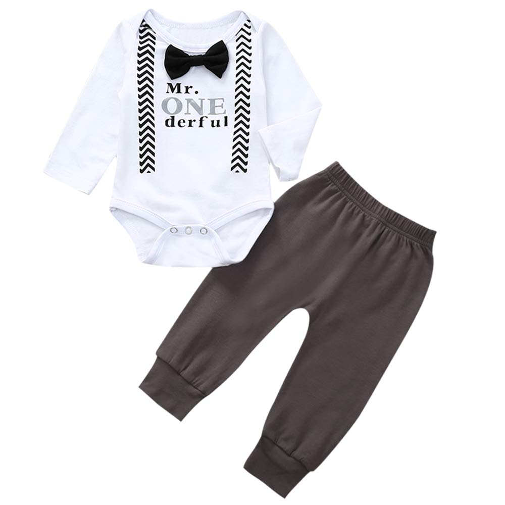 Newborn Baby Boy Birthday Outfits Mr. Onederful Printed Bow Tie Romper Bodysuit+Pants 2pc Gentleman Outfits
