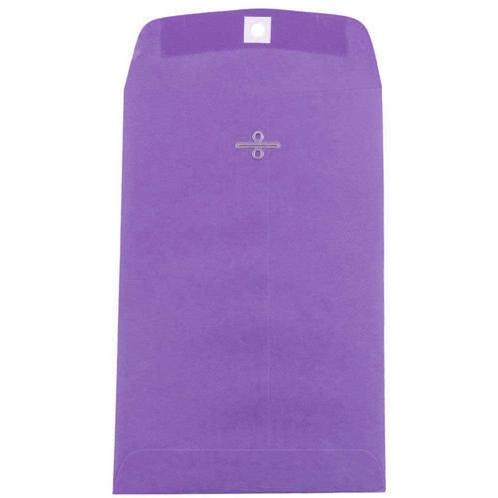 JAM PAPER 6 x 9 Open End Catalog Colored Envelopes with Clasp Closure - Violet Purple Recycled - 100/Pack