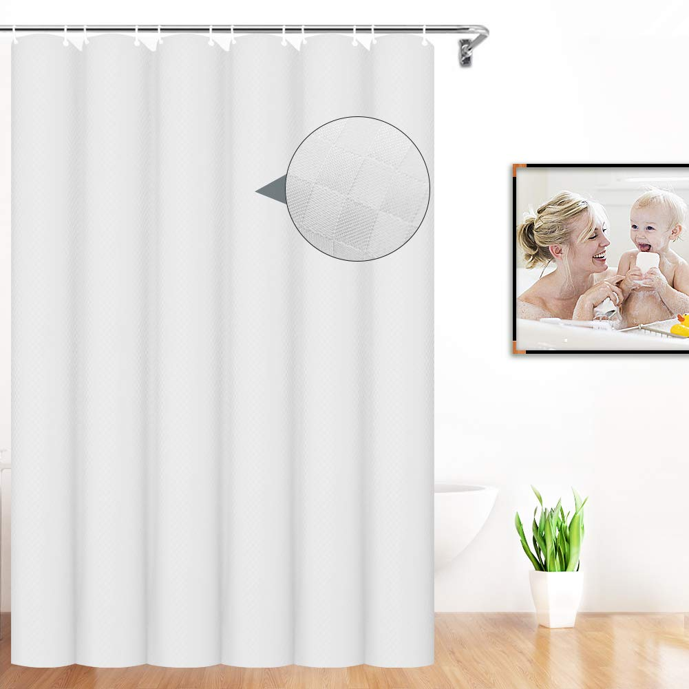 VCVCOO Shower Curtain Liner 84 inches Long,White Polyester Shower Curtain Waterproof, Cloth Fabric Hotel Bath Curtain Washable, Heavy Duty Bathroom Curtain for Host Guest