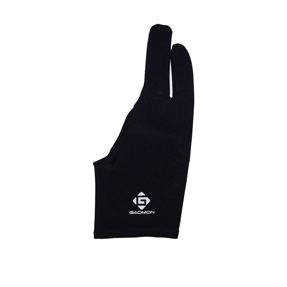 GAOMON 2 Finger Black Artist Lycra Glove for Digital Drawing Graphics Tablet.