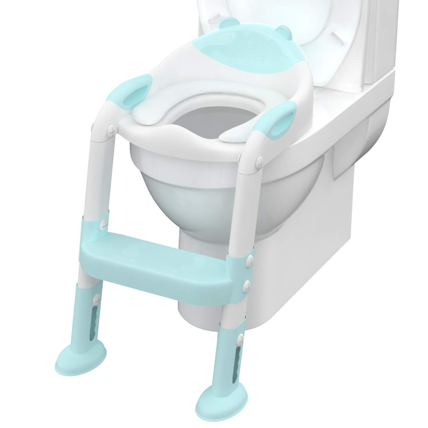 Ganowo Toilet Potty Training Seat Adjustable Potty Chair with Sturdy Non-Slip Step Stool Ladder for Baby Toddlers Kids