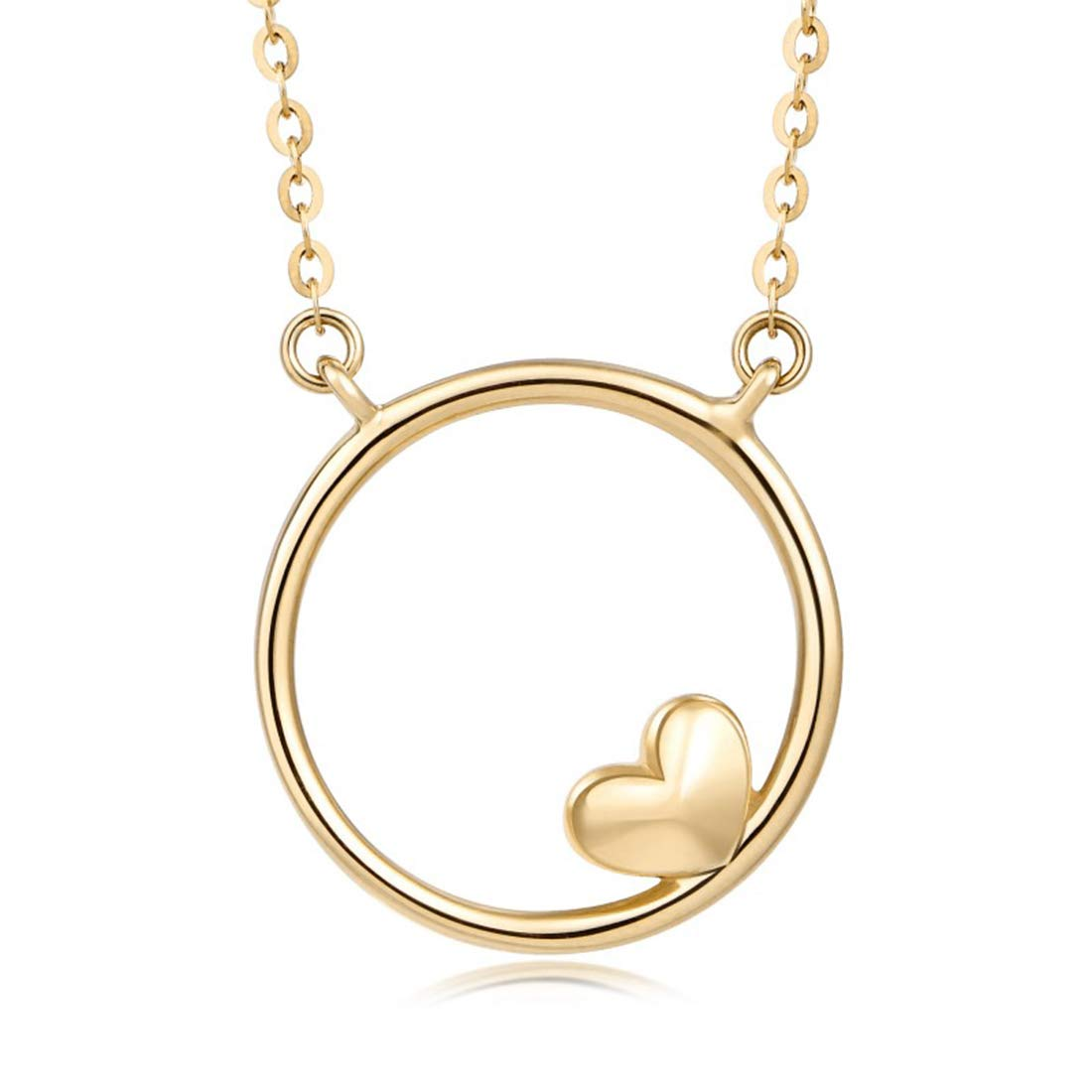 Mother's Day Gift | FANCIME 14K Real Solid Yellow Gold Round Circle with Heart Love Small Pendant Necklace Fine Jewelry for Women 16+2 inch Extender 1.52g