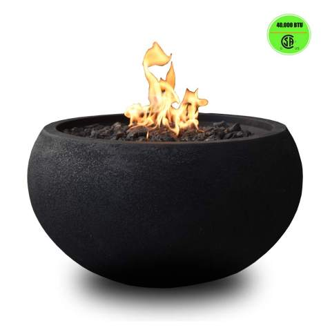 Modeno Outdoor Fire Pit High Performance Concrete Natural Gas Black Fire Bowl 40 000 Btu Auto Ignition Lava Rock Pvc Cover Included
