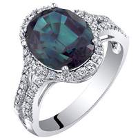 14K White Gold Created Alexandrite and Lab Grown Diamond Ring 5.43 carats total Oval Shape
