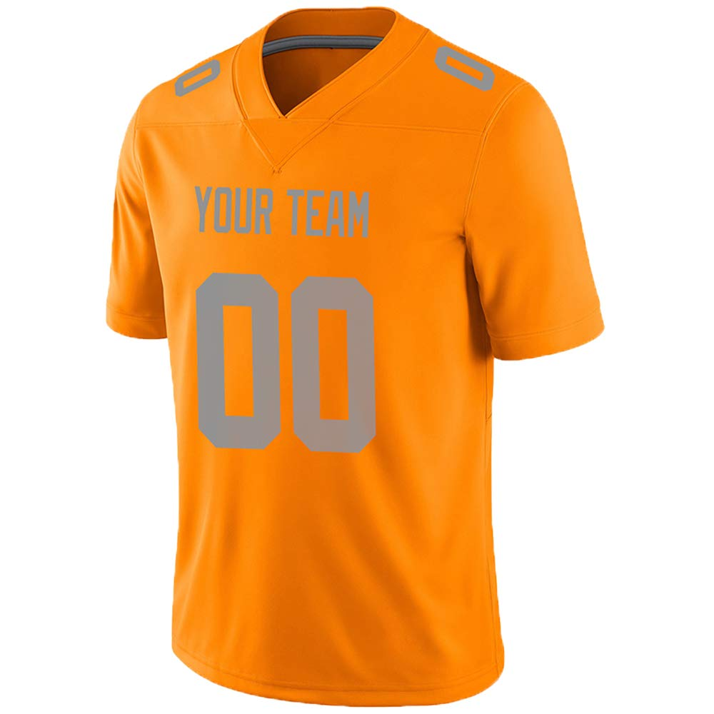 Pullonsy Orange Custom Football Jerseys for Men Women Youth Embroidered Team Name & Numbers S-8XL Design Your Own