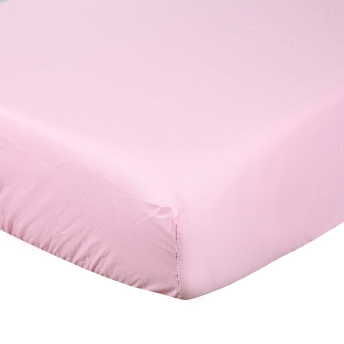 UOMNY Crib Sheet 100% Cotton Crib Fitted Sheets Baby Sheet Standard Crib Toddler Sheet 28 x 52 Inch for Boys and Girls 1 Pack Solid Color Toddler Sheet Pink Crib Sheet