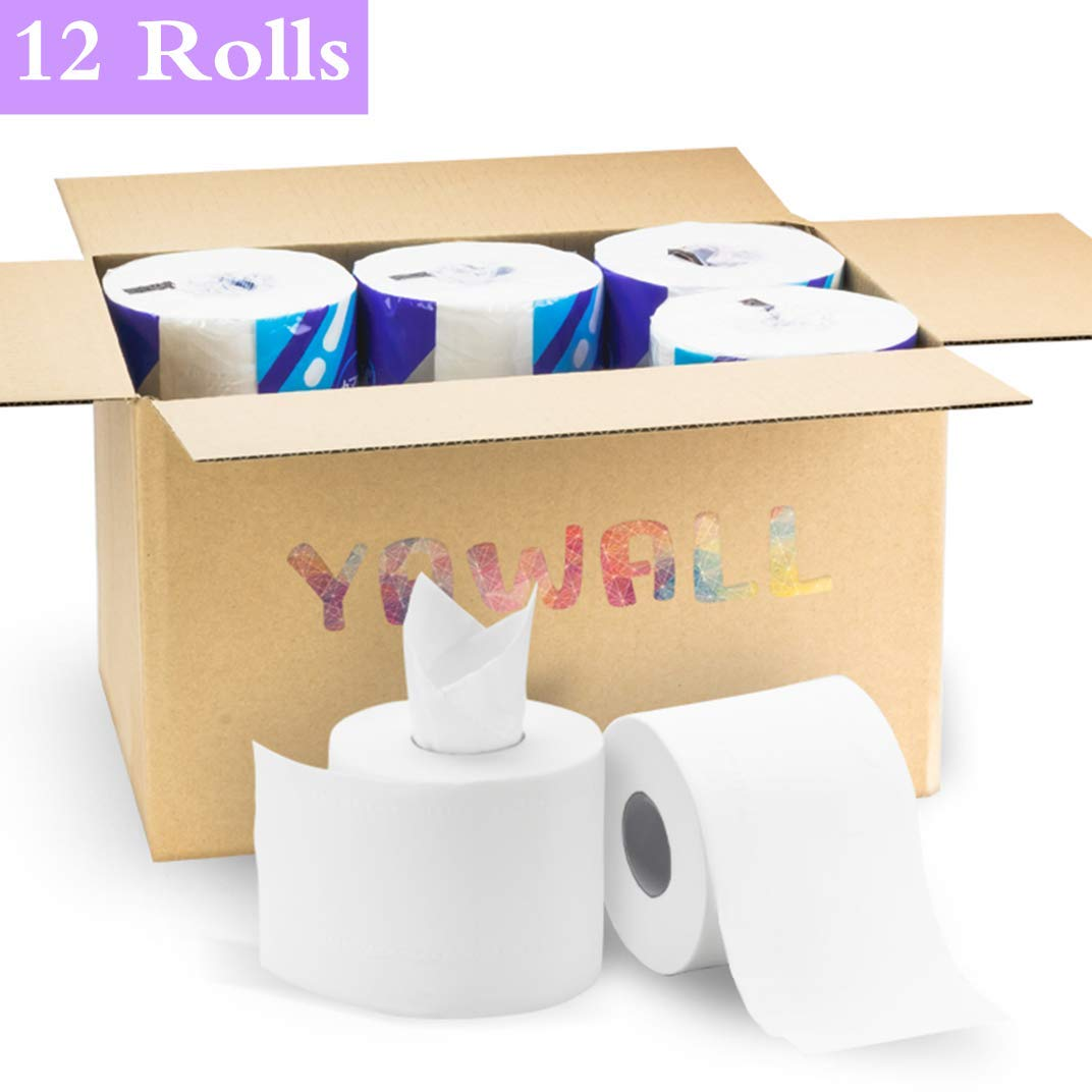 YAWALL Paper Towel 4-Ply Bath Facial Tissue Ultra Soft Absorbable Toilet Paper (White, 308 Sheets Per Roll, 12 Rolls Per Case)