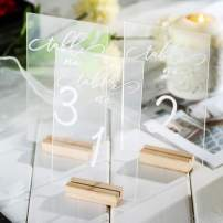 Mooxury Table Numbers, Acrylic Wedding Table Numbers Hexagon/Rectangle Clear Table Number Signs with Satand Perfect for Wedding Party and Dinners, Reception, Centerpiece Decoration. (Rectangle:1-10)