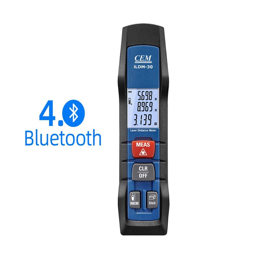 CEM iLDM-30 98ft/30m Pen-type Laser Distance Measure with Bluetooth 4.0 APP Support