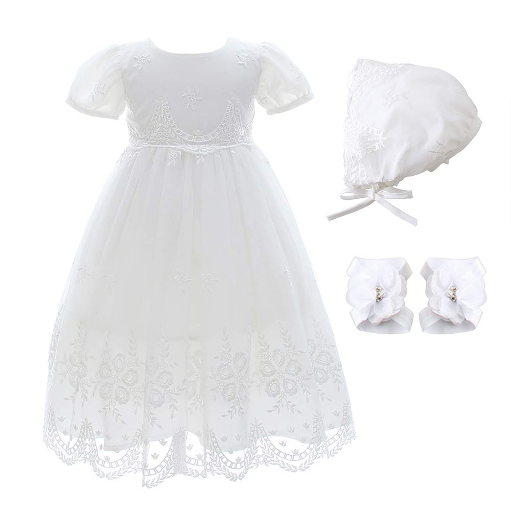 Xangirl Baby Girls White Dress, Formal Lace Flower Embroidered Dress Gown Outfit with Bonnet Toddler Party Special Occasions Dresses for 12-15 Months Baby Girls