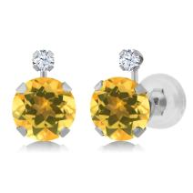 Gem Stone King 1.48 Ct Round Yellow Citrine White Created Sapphire 14K White Gold Earrings