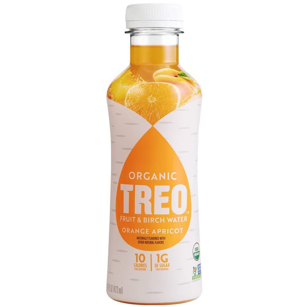 Treo Fruit & Birch Water Drink, Orange Apricot, USDA Organic, Non-GMO Project Verified, Vegan, Gluten-Free, 10 Calories & 1g of Sugar Per Serving, Good Source of Vitamin C, 16 fl oz, Pack of 12